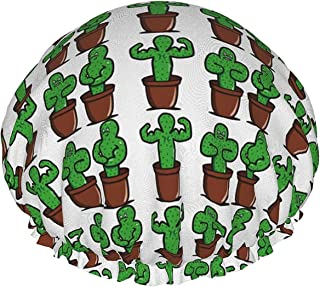 Wodoodporna czapka prysznicowa z elastycznym obszyciem z kaktusem dwustronna konstrukcja do spania pod prysznicem czapka n...