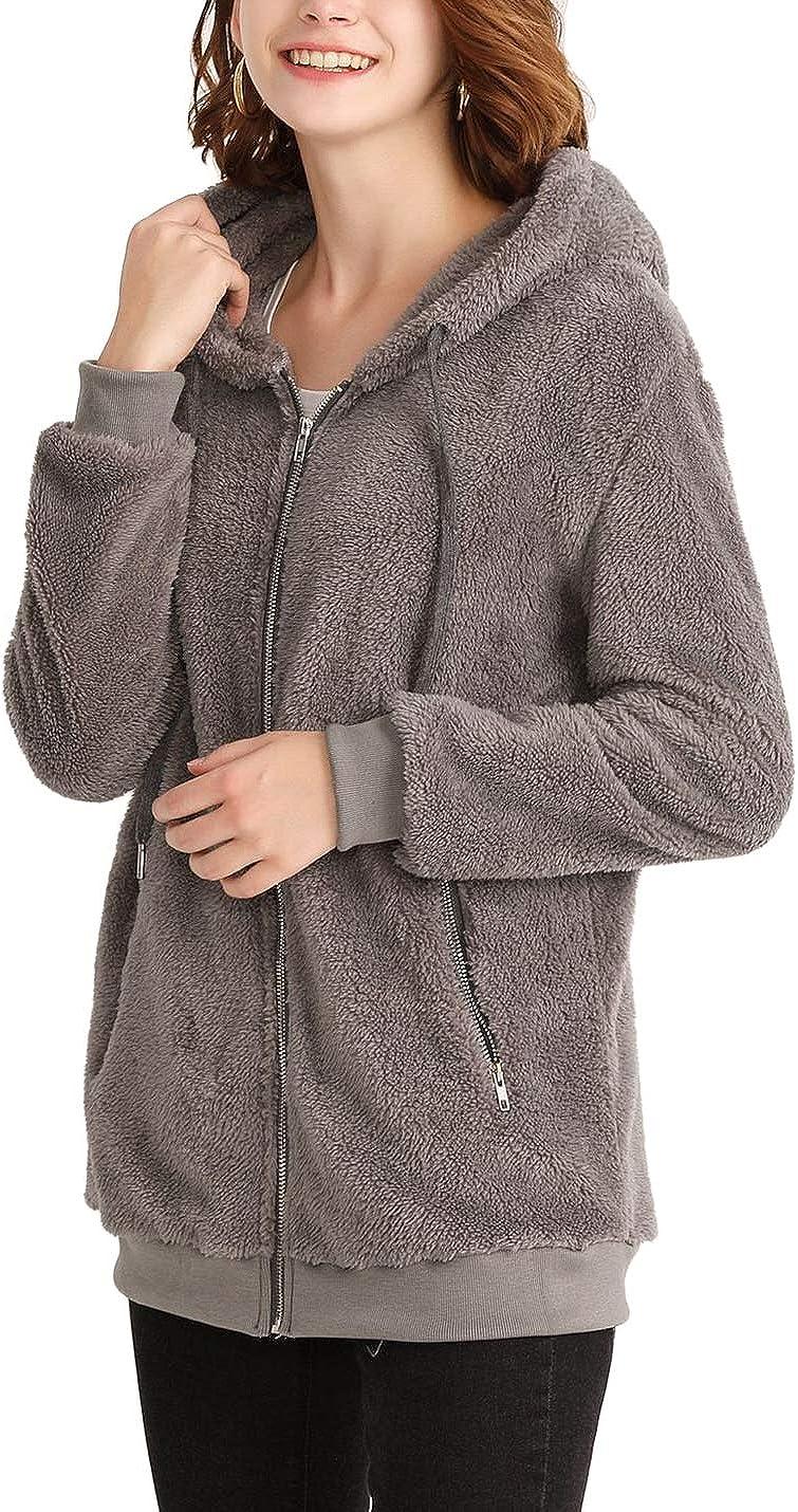 Yeokou Women's Winter Jacket Hooded Sweater Coat Warm Wool Zipper Cotton Coat