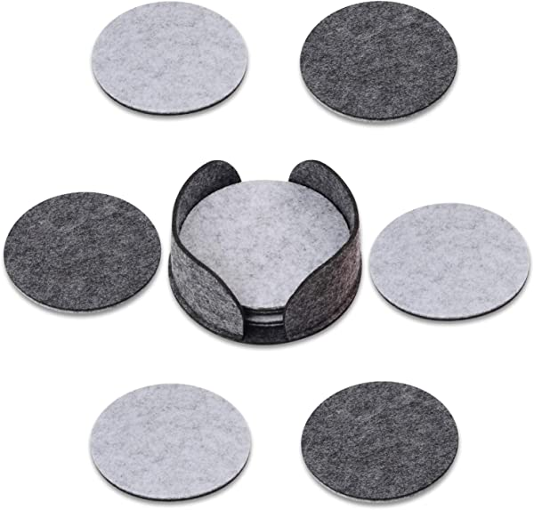 Sunshane 10 Piece Felt Drink Coasters Absorbent Round Coasters Double Side Coaster With Holders For Home Bar Kitchen Restaurant Supplies