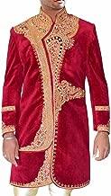 INMONARCH Indian Sherwani for Men Maroon Velvet Indo Western Embroidered Sherwani IN0363