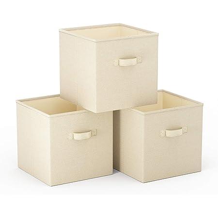 SimpleHome Lot de 3 Cube de Rangement Pliables en Toile de Jute s'adaptant exactement aux étagères Kallax, 33x37x33cm.