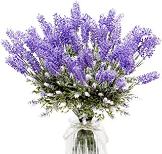 DuHouse 8 Bundles Fake Lavender Artificial Flower Bouquet Faux Lavender Flocking Plants with Leaves for Wedding Home Table Outdoor Decoration (Purple)