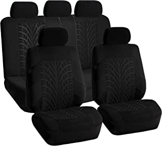 FH Group FH-FB071115 Complete Set Travel Master Seat Covers Airbag Ready & Rear Split Solid Black- Fit Most Car, Truck, SUV, or Van