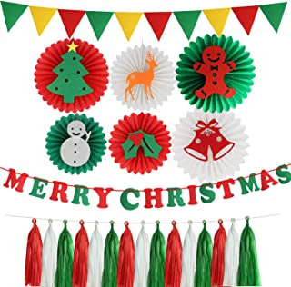 Christmas Party Decorations Kit Green and Red Paper Fans Merry Christmas Banner DIY Hanging Tassel Paper Garland for New Year Baby Shower Festival Decor