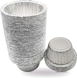 HSIULMY Disposable Aluminum Foil Tart Pie / Pans 1.57inch Deepth Aluminum Egg Tart Tins Thicken Baking Small Pie Cups Perf...