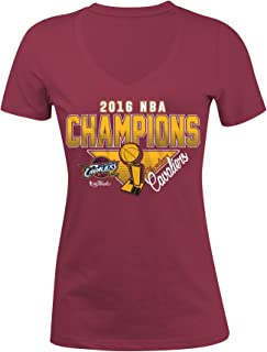 NBA Cleveland Cavaliers Women's Champions Baby Jersey V-Neck Short Sleeve Tee, Large, Red