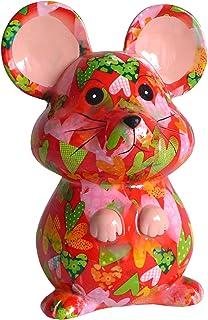 Pomme Pidou Skarbonka myszka czerwona z sercami skarbonka myszy skarbonka prezent pieniężny