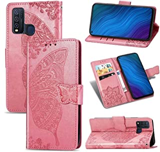 FlipBird ケース Compatible with Vivo Y50 Butterfly Embossed Magnetic カードスロット付きウォレットケース電話カバーPUレザーケース for Vivo Y50 Pink