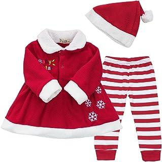 90364eb7bf420 iEFiEL Costume Noël Vêtement Bébé Filles Robe + Pantalon + Chapeau Ensembles  9-24 Mois