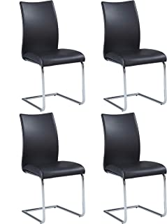 MILAN Jean Contour Back Cantilever Side Chair, Set of 4, Black
