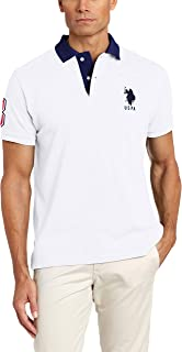Men's Slim Fit Pique Polo, White/Dodger Blue, X-Large