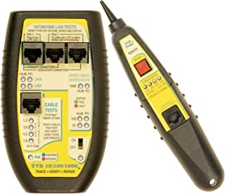 Triplett Byte Brothers LAN Cable Tester RJ45 CAT5 CAT6 Base-T for Hubs, Switches, PCs, and Cables with 4 Tests: Advertised Speed and PoE, Negotiated Speed and PoE, Test Cables, Trace Cables (TVR10/100/1000)