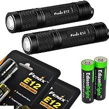 2 Pack Fenix E12 CREE XP-E2 130 Lumen LED flashlight with two EdisonBright AA alkaline batteries. E11 upgrade