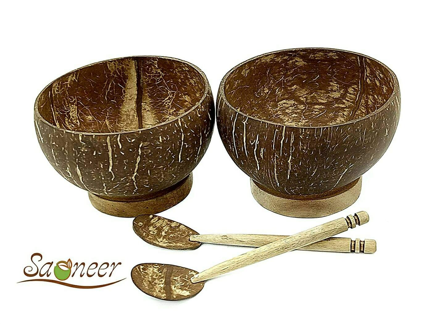 Set of 2 Coconut Bowls + 2 Coconut Saoneer Hand Made Natural Wooden Coconut Shells Bowls and Spoons Gift Set Smoothie /& Coco Bowl Gifts Bowl Serving Bowl and Spoon Vegan Home Organic Eco Friendly