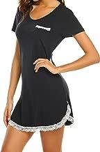 Ekouaer Sleepwear Womens Nightgown Sexy Sleep Shirt Dress V Neck Short Sleeve Lace Trim Soft Nightshirt (S-XXL)