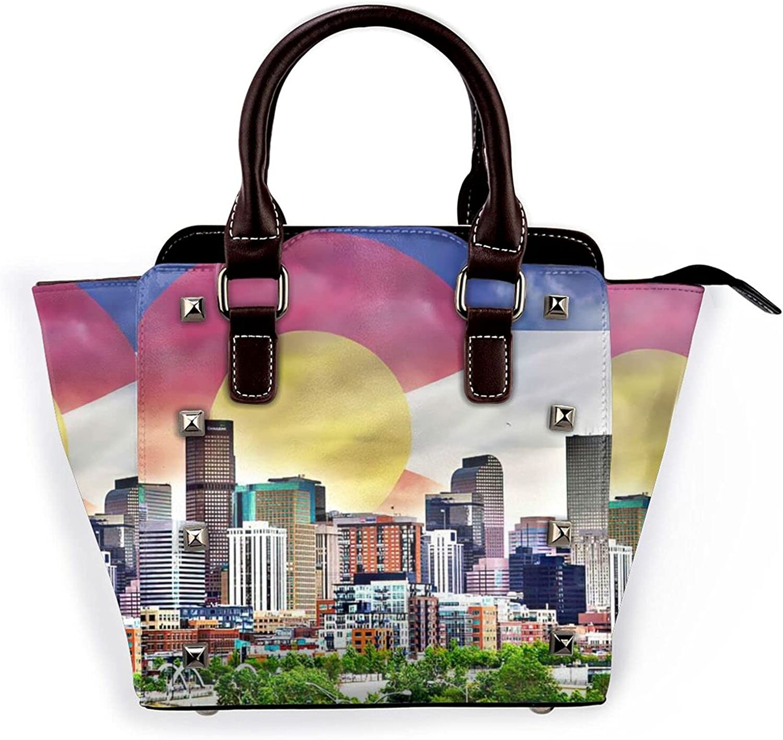 Colorado Flag At the price of surprise with outlet City Leather Handbag Rivet Purse Bag Shoulder