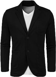 Lunir Mens Slim Fit Cotton Stylish Casual Blazer Suit Jacket Lapel Blazer Jacket Coat