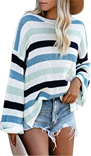 LEANI Women Long Sleeve Crew Neck Striped Color Block Knit Sweater Oversize Pullover Jumper Tops