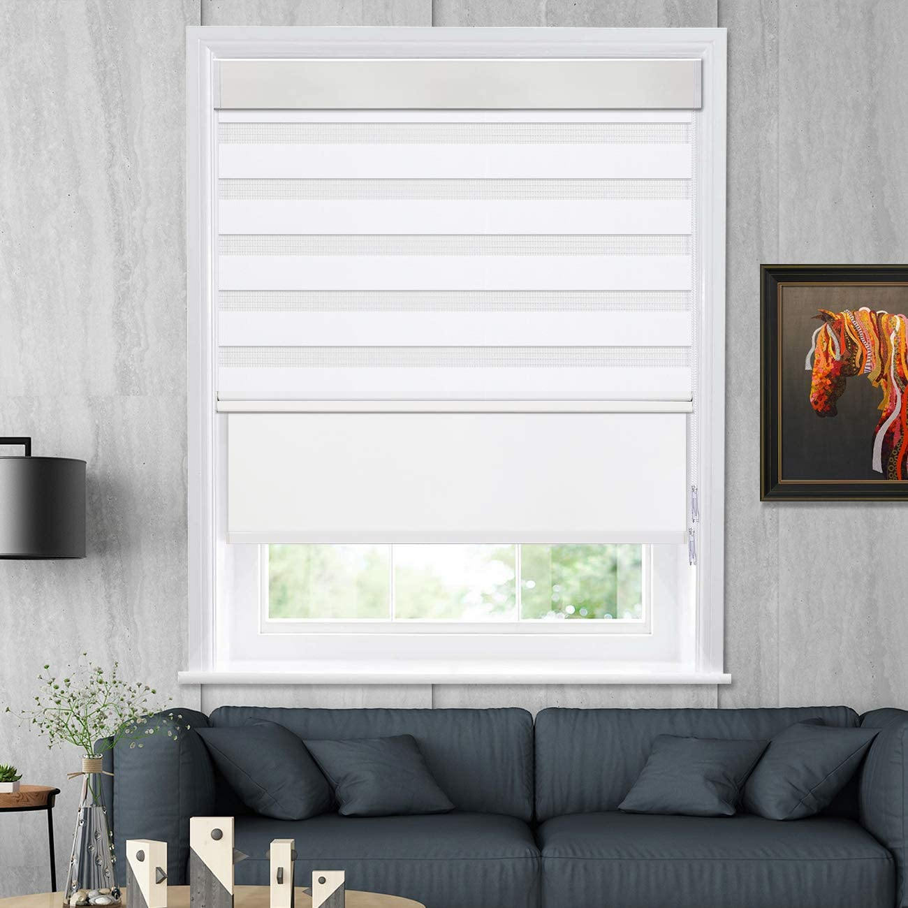 Keego Sales for sale Max 58% OFF Double Roller Shades Combine Blin Free Control Light Zebra