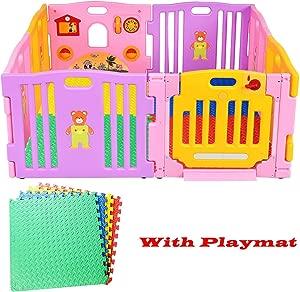 Costway Panels Pink Baby Playpen  amp  EVA Foam Playmats Soft Jigsaw Floor Mat Children  Pink Playpen 12 PCS Playmats