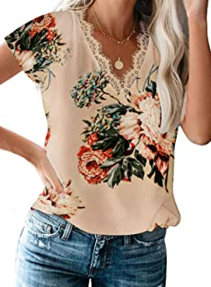 Dokotoo Womens Floral Blouses Tie Front V Neck 3 4 Sleeve Loose Tops and Shirts