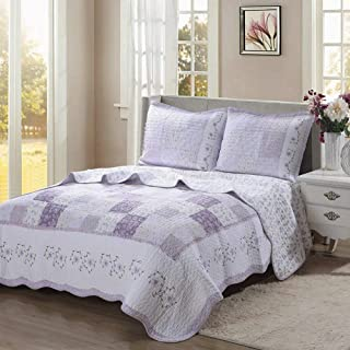 Cozy Line Home Fashions Love of Lilac Bedding Quilt Set, Light Purple Orchid Lavender Chic Lace Floral 100% Cotton Reversible Coverlet, Bedspread for Girls Women (Lilac, Twin - 2 Piece)