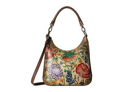 Anuschka Handbags Convertible Slim Hobo with Crossbody Strap 662 (Caribbean Garden) Handbags