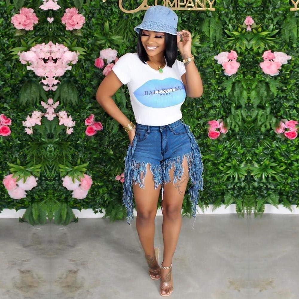 CDDKJDS Stretch High Waist Summer Club Party Shorts Women Tassels Splicing Zipper Fly Washed Denim Short Casual Streetwear Denim Shorts (Color : Dark Blue, Size : 3X-Large)