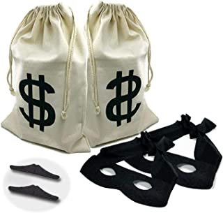 2 set Canvas Money Bag Pouch with Drawstring Closure and Dollar Sign Design for Toy Party Favors, Bank Robber Cowboy Pirate Theme,Robber Costume Black Eye Mask and Men's Zorro Novelty Moustache(6pcs)