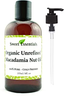 Organic Unrefined Macadamia Nut Oil | 8oz Imported From Italy | 100% Pure | Food Grade | Offers Relief From Dry, Cracked Skin, Eczema, Psoriasis, Dermatitis, Rosacea & More | Best Natural Moisturizer