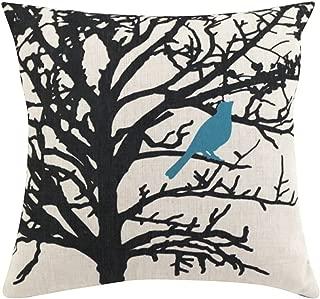 ChezMax Square Cartoon Bird Printed Stuffed Cushion Cotton Stuffing Throw Pillow Insert for Club Pub Coffee House Bar Sofa Chair Couch