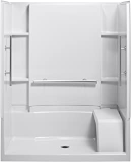 STERLING 72290103-N-0 Accord 36-Inch x 60-Inch x 74-1/2-Inch Shower Kit with Seat and Grab Bars, White