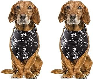 Tinsow 2 Pack Black Holloween Bandanas Pet Collar Dog Kerchief Cat Bibs Skull Bandanas
