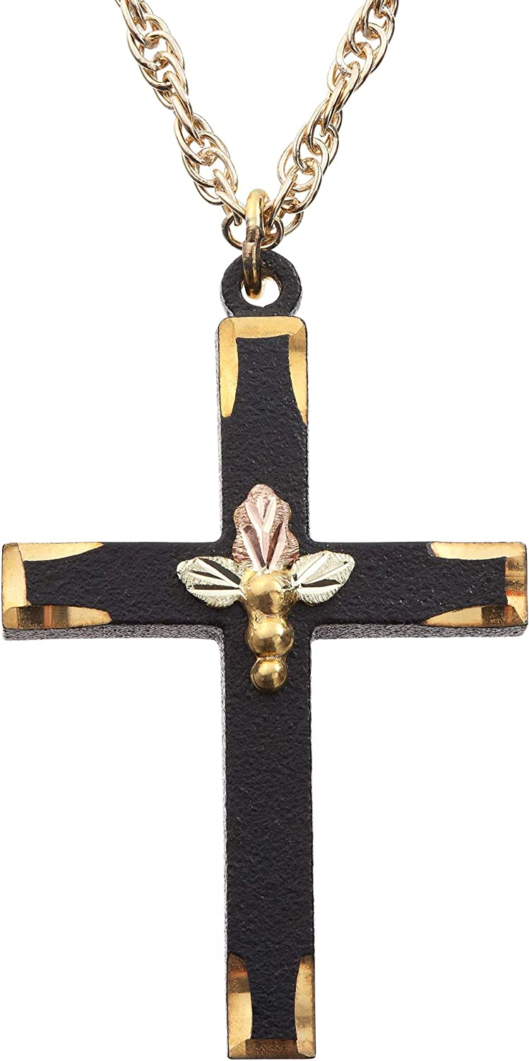 Now on sale Black Atlanta Mall Cross Pendant Necklace 10k Yellow Green and Gold Ros 12k