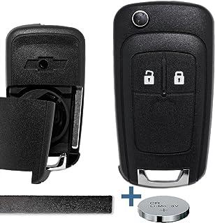 Klapp Schlüssel Gehäuse Funkschlüssel Fernbedienung 2 Tasten Autoschlüssel Rohling + Batterie für Chevrolet