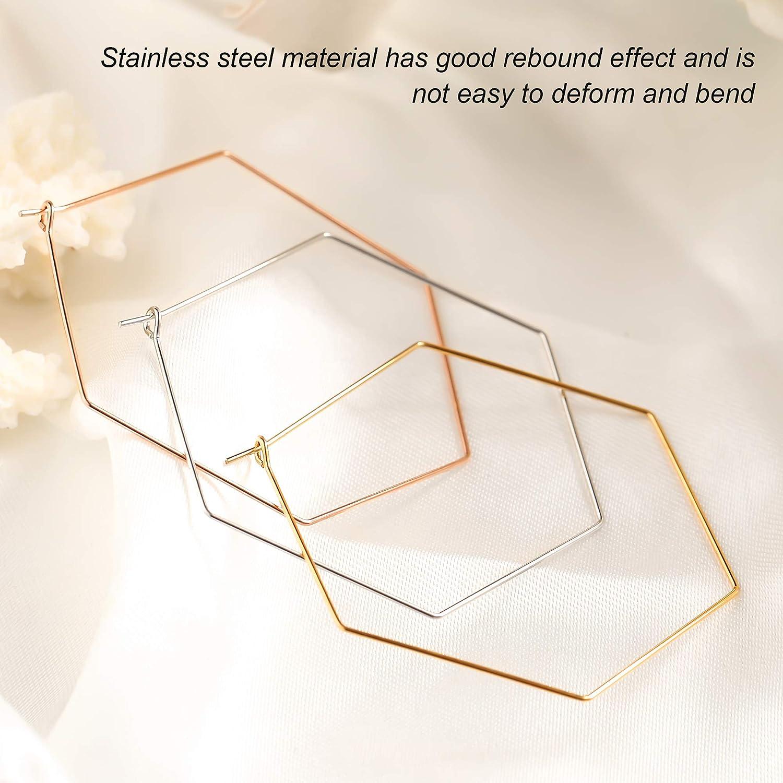 Wowshow 3 Pairs Stainless Steel Geometric Hexagon Hoop Earrings Set for Sensitive Ears