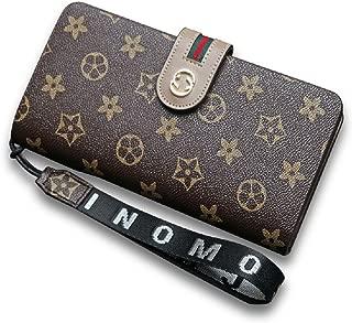 Women Flower Designer Retro Wallet RFID Purse Handbag Wristlet with Zipper