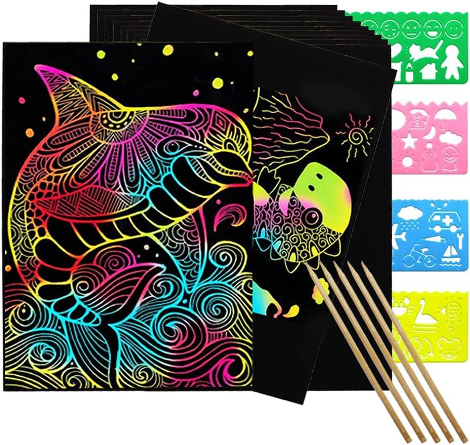Tngghlu 50 Scratch Albuquerque Mall Paper Art Set Rainbow C Off Superlatite Magic