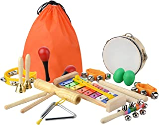 SODIAL 20 Pcs Toddler & Baby Musical Instruments Set - Percussion Toy Fun Toddlers Toys Wooden Xylophone Glockenspiel Toy Rhythm Band Set, Percussion Set for Kids of All Ages