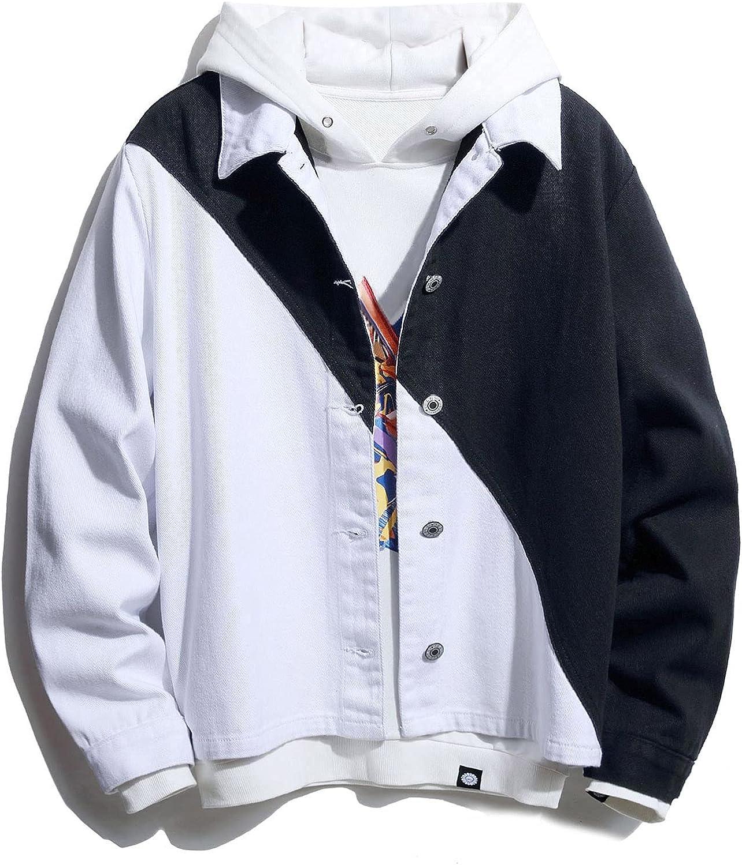 Huangse Mens Stylish Designed Denim Jacket Slim Fit Color Block Jean Jacket Coat for Men Lapel Patchwork Trucker Jacket