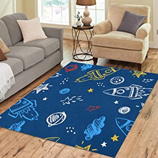 Semtomn Area Rug 5' X 7' Pattern Space Ship Cute Rocket Sketch Hand Spaceship Doodle Home Decor Collection Floor Rugs Carpet for Living Room Bedroom Dining Room