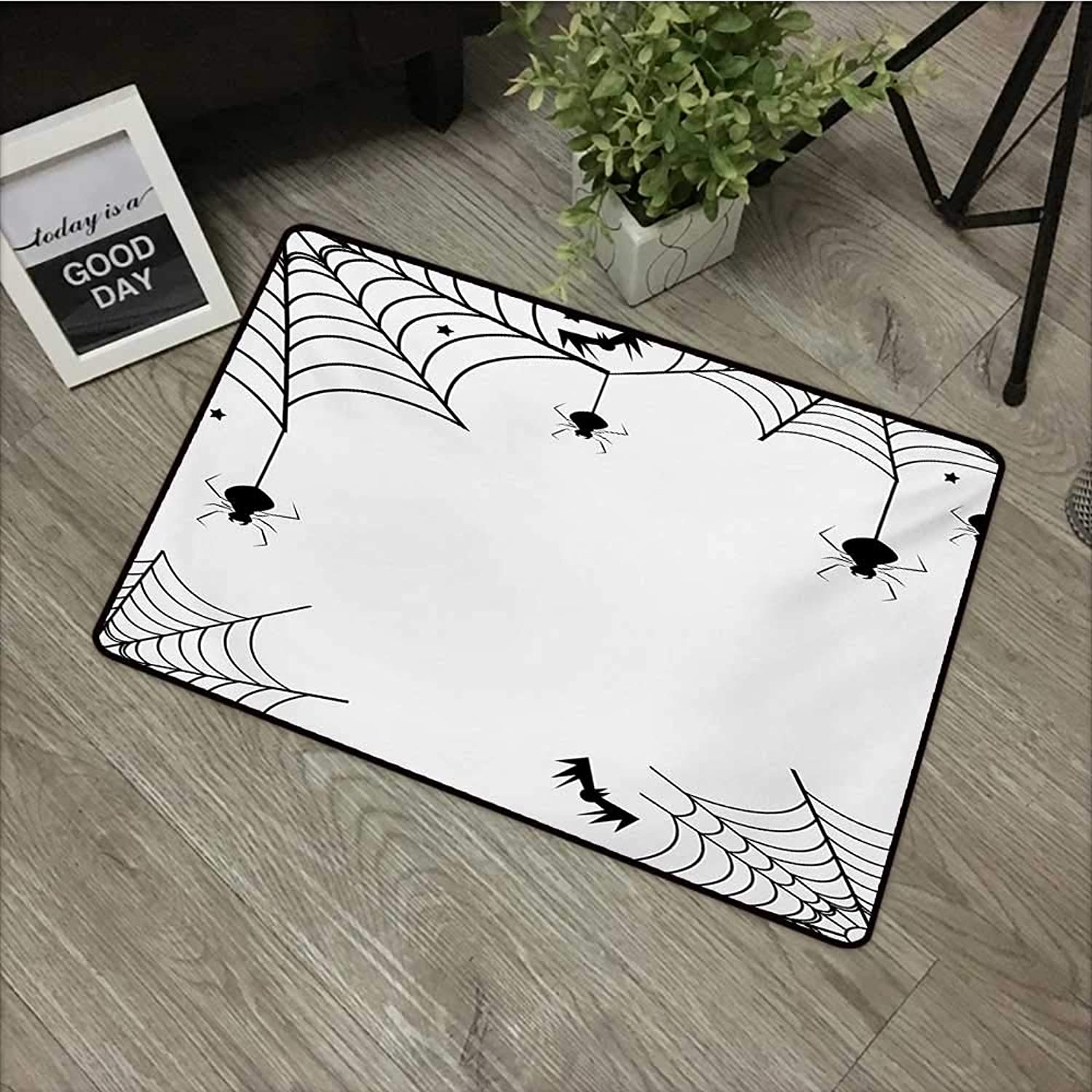 Pad W35 x L59 INCH Spider Web,Spiders Bats and Little Stars Monochrome Cobwebby Design Spooky Horror Elements,Black White Non-Slip, with Non-Slip Backing,Non-Slip Door Mat Carpet