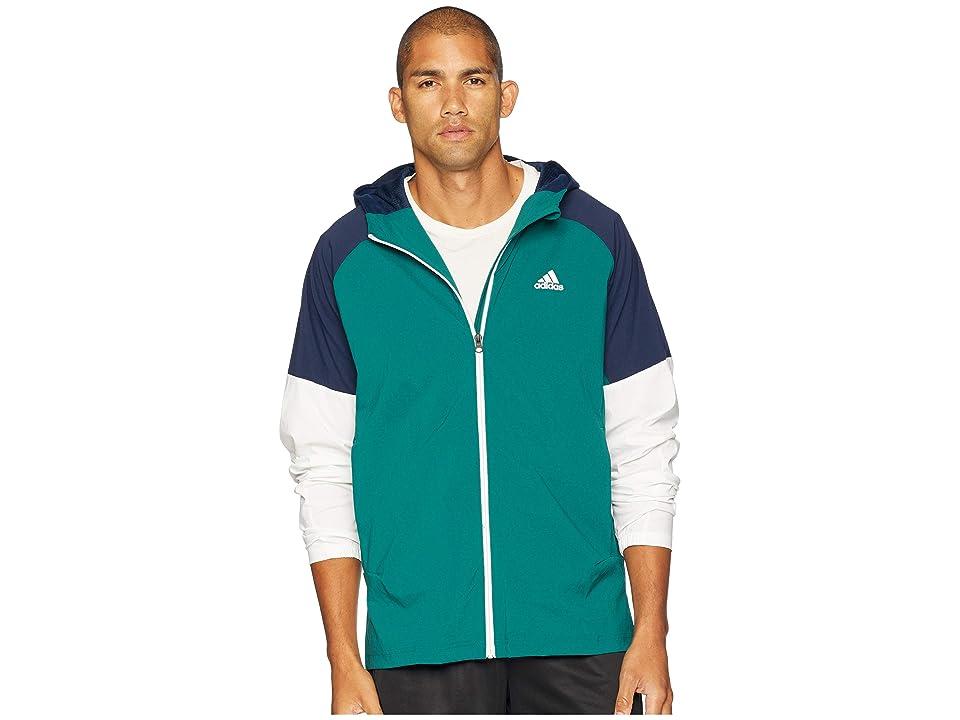 adidas Sport ID Full Zip Woven Hoodie (Noble Green/Collegiate Navy) Men