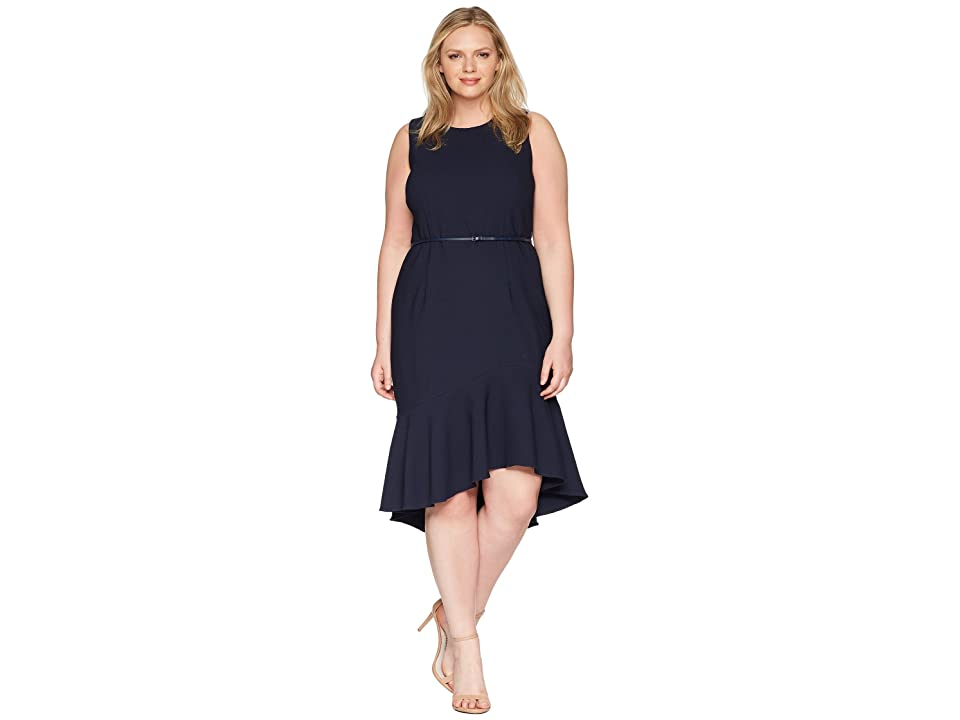 Adrianna Papell Plus Size Structured Knit Trumpet Dress (Blue Moon) Women