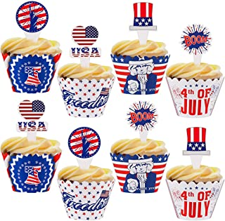 Amosfun 48PCS 4th of July Cupcake Toppers Wrappers Independence Day Patriotic Party Cupcake Topper Decorations