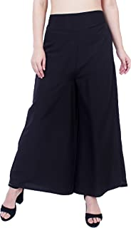Fraulein Women's/Girls Palazzos Solid Elegant Black Crepe Flared Bottom Palazzos with One Pocket and Mesh Inner Lining Sho...