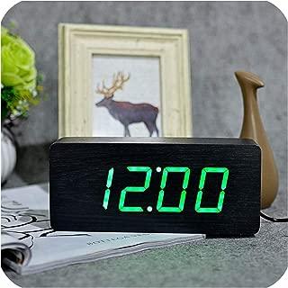sunnyday-shop Digital Clocks Wooden Despertador Modern Square Colorful Alarm Clock with Temperature Voice Control Desktop Sensor,Black-Green