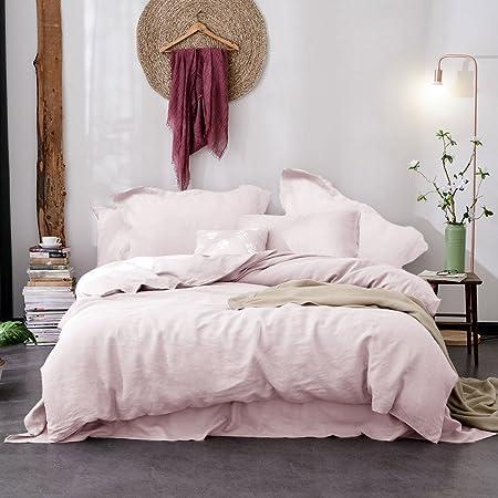 Merryfeel Linen Duvet Cover Set King,100% French Linen Bedding Set,3 Pieces(1 Duvet Cover with 2 Pillowshams),Luxury - King - Light Pink