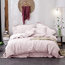 Merryfeel Linen Quilt Cover Set,100% Pure French Linen Doona Cover Set,Luxurious Bedding Set 3 Pieces-Light Pink-King Set