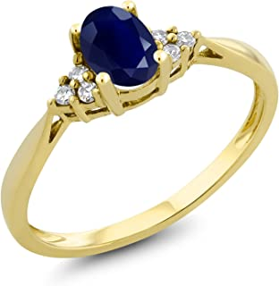 14K Yellow Gold Blue Sapphire and Diamond Women's Ring 0.55 cttw Oval Available in size 5, 6, 7, 8,
